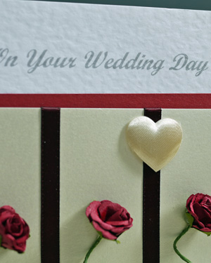 Three Rose Stems Wedding Card Closeup - Ref P167