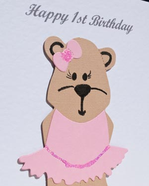 Bonnie Bear - Girls Birthday Card Closeup - P171