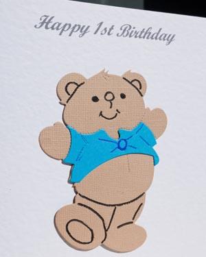 Harvey Bear - Boys Birthday Card Closeup - Ref P172