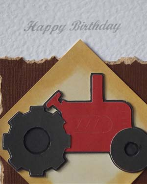 Little Red Tractor - Men's Birthday Card Closeup - Ref P181