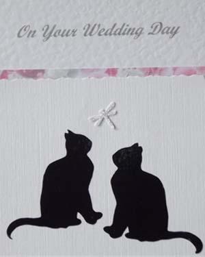 Lucky Black Cats Wedding Card Closeup - Ref P182