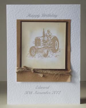Vintage Tractor in Sepia – Men's Birthday Card Front - Ref P185