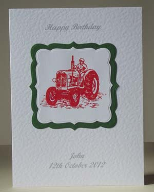 Vintage Tractor in Red - Men's Birthday Card Front - Ref P186