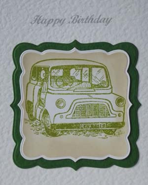 Mini Car - Men's Birthday Card Closeup - Ref P187