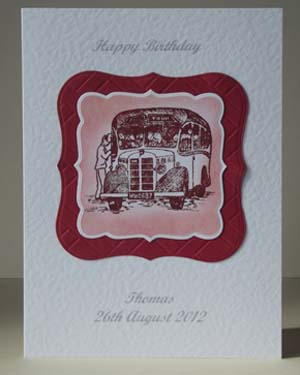 Vintage Bus - Men's Birthday Card Front – Ref P189
