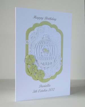 Bird Cage Women's Birthday Card Angle – Ref P190