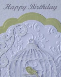 Bird Cage Women's Birthday Card Closeup – Ref P190