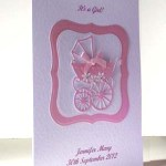 Pearly Pink Pram - New Baby Girl Card Angle - Ref P192
