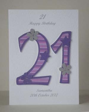 Pink and Purple 21 - 21st Birthday Card Front - Ref P195