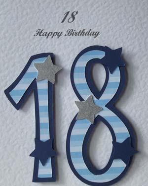 Blue Striped 18 - 18th Birthday Card Closeup – Ref P196