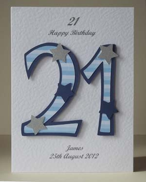 Blue Striped 21 - 21st Birthday Card Front – Ref P197
