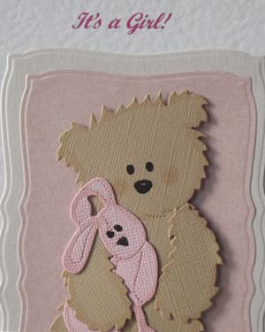 Teddy and Pink Rabbit - New Baby Card Closeup - Ref P198