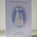 Blue Ribbon Christening Card Angle - Ref P200