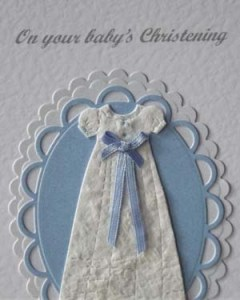 Blue Ribbon Christening Card Closeup - Ref P200