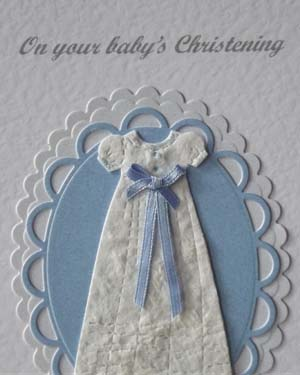Blue Ribbon Christening Card Closeup - Ref P200