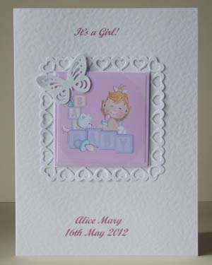 Butterfly Girl New Baby Card Front - Ref P202