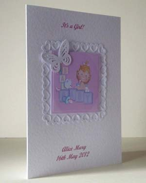 Butterfly Girl New Baby Card Angle - Ref P202