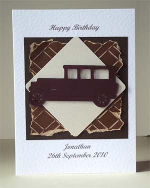 Old Car - Men's Birthday Card Front – Ref P205