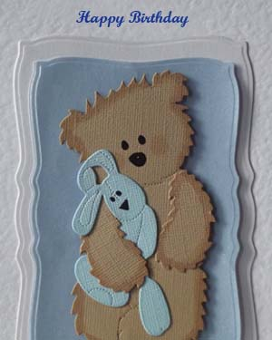 Scruffy Ted and Blue Rabbit - Boy's Birthday Card Closeup - Ref P209