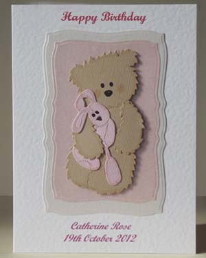 Scruffy Ted and Pink Rabbit - Girl's Birthday Card Front - Ref P210