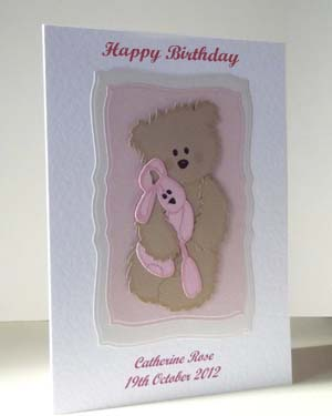 Scruffy Ted and Pink Rabbit - Girl's Birthday Card Angle - Ref P210