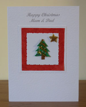 Tree and Gold Star Christmas Card Front - Ref PC592