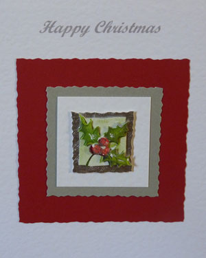 Holly Christmas Card Closeup - Ref PC595