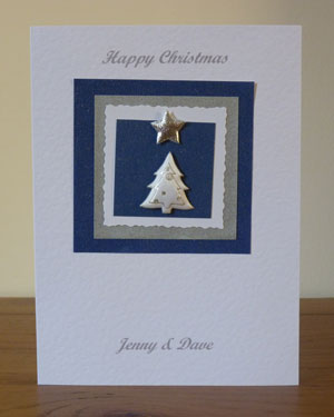 White and Silver Tree Christmas Card Front - Ref PC602