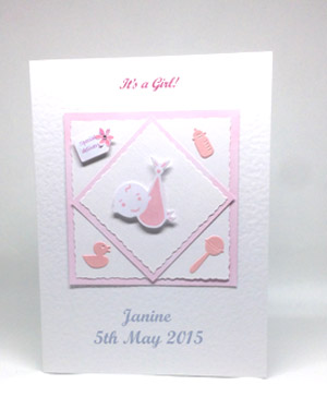 Special Delivery - New Baby Girl Card Front - Ref P129