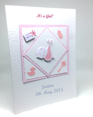 Special Delivery - New Baby Girl Card Angle - Ref P129