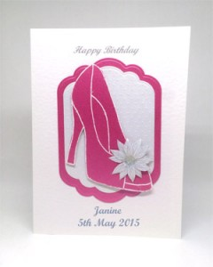 Pink Glitzy Shoe - Women's Birthday Card Front - Ref P215