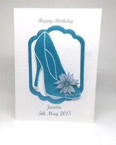 Blue Glitzy Shoe - Women's Birthday Card Front - Ref P216