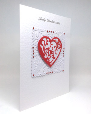 Ruby Red - Ruby Wedding Anniversary Card Angle - Ref P219