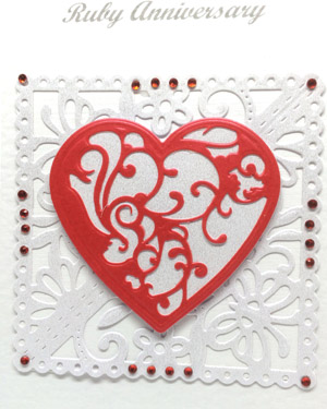 Ruby Red - Ruby Wedding Anniversary Card Closeup - Ref P219