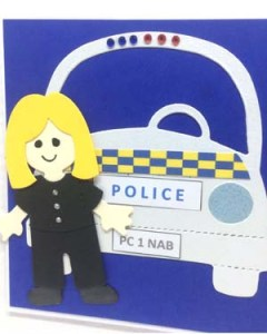 Police Woman Passing Out Special Occasion Card Closeup - P222