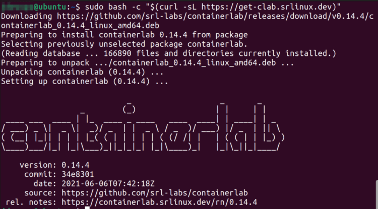 Image of result of containerlab installation using the bash script