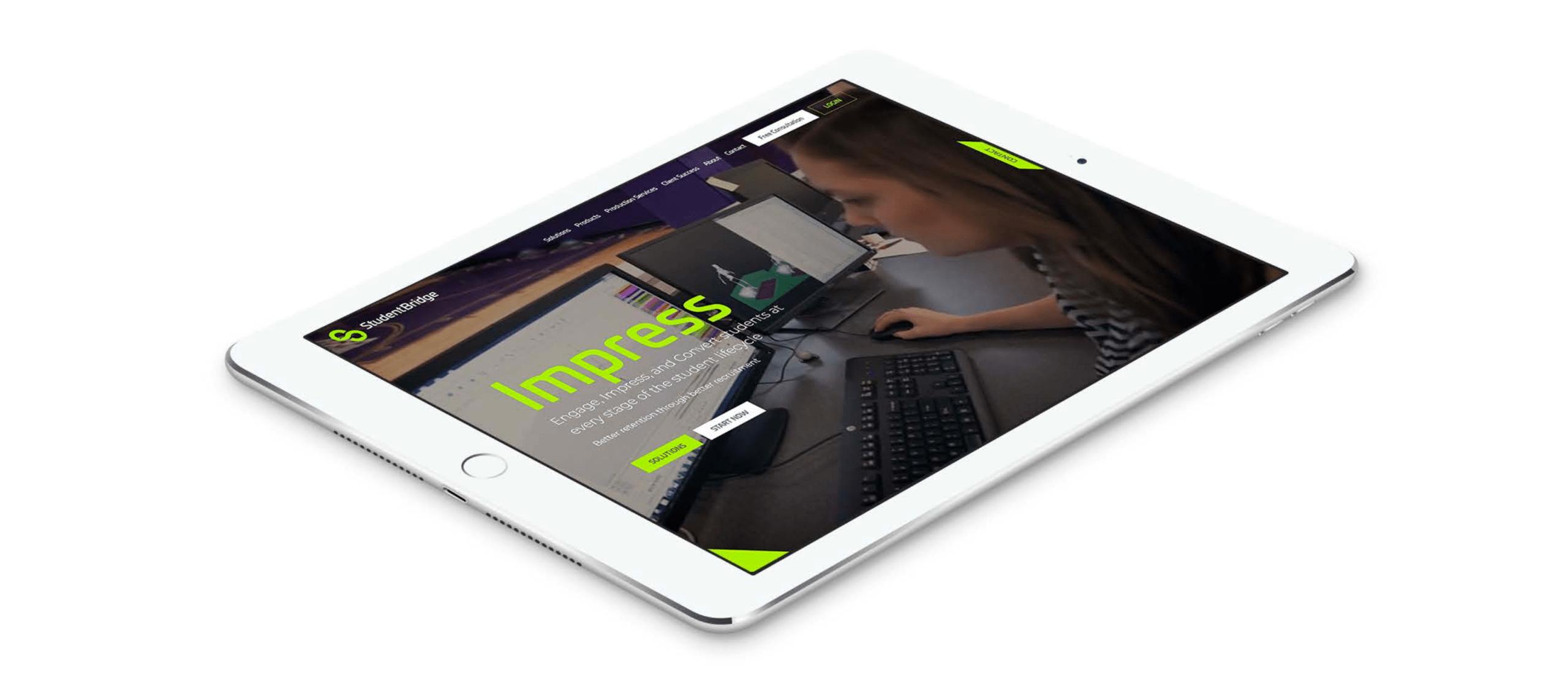 Student Bridge website displayed on mobile tablet.