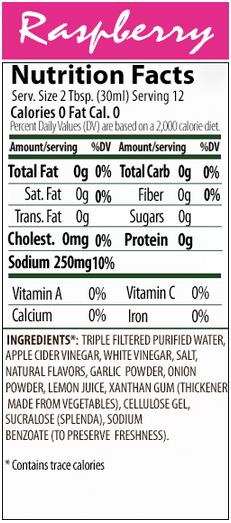Walden Farms Raspberry Vinaigrette Dressing Nutrition Label
