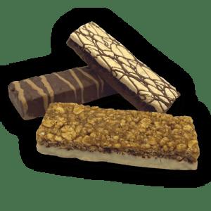Three snack protein bars.