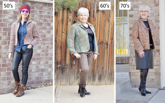 Women over 50 Wearing a Tweed Jacket.