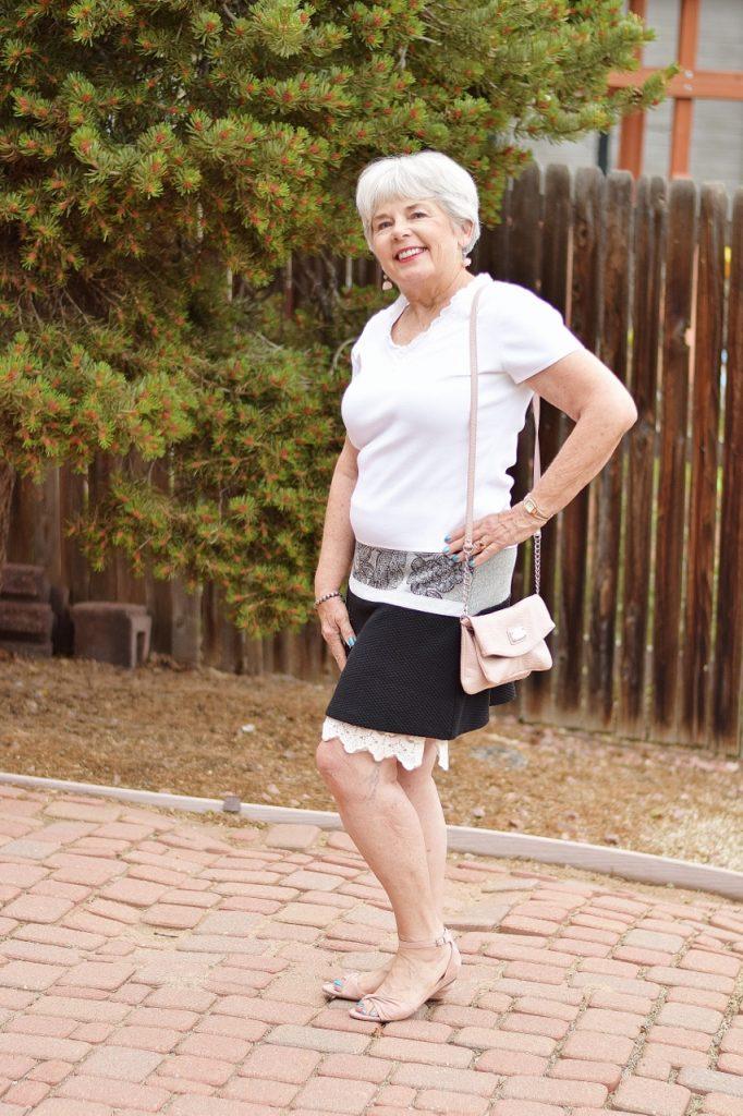 Dress extender under a skirt for woman over 60