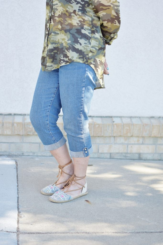 denim with camo blouse for women