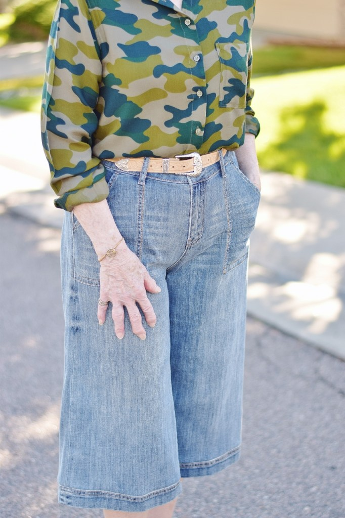 denim culottes with camo for 70+ women