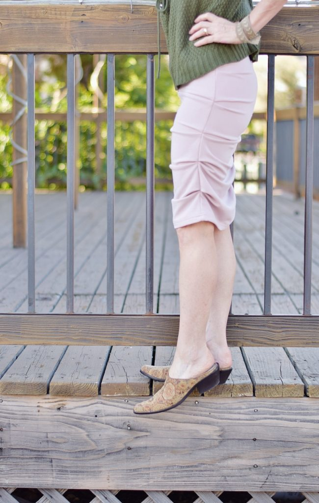 blush and olive green with mules