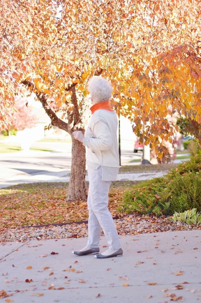 Orange for fall worn by older women