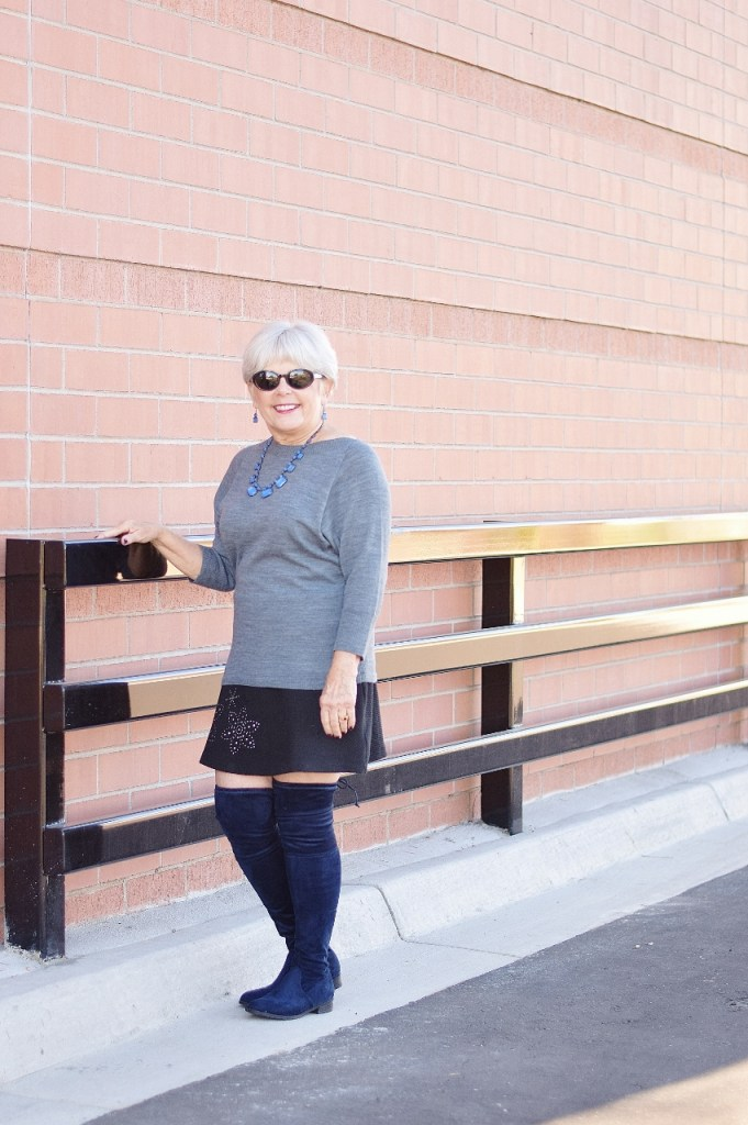 Women over 60 wearing over the knee boots