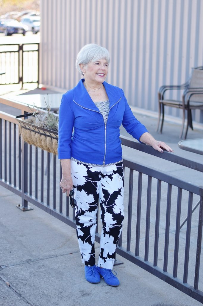 Stripes and print mixing for women over 60