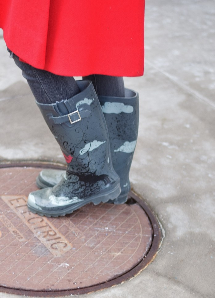 Hunter boots with a retro piece of clothing