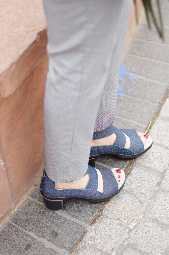 Styling Jambu comfortable wedges in denim as a neutral