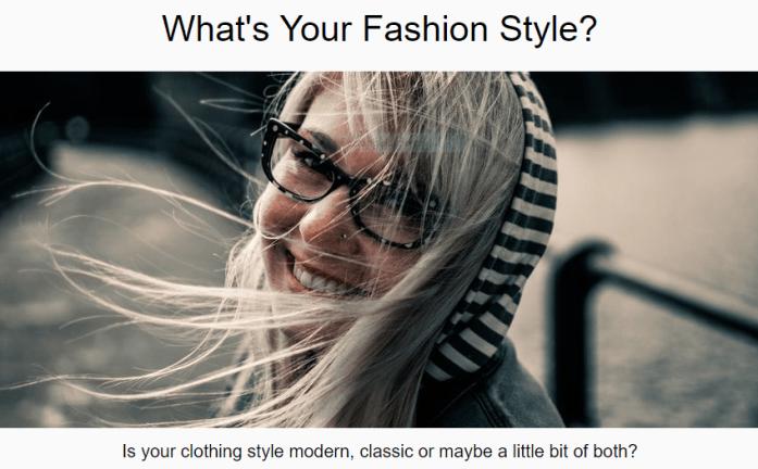 Fashion Style quiz for fashion style